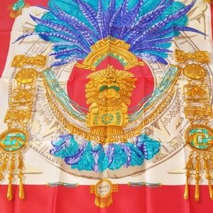 authentic Hermes collection silk scarf